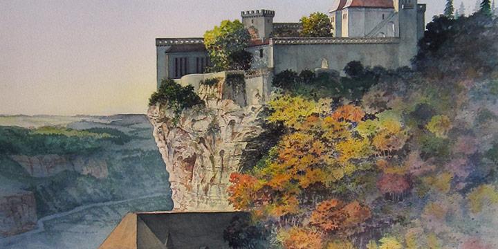 William Schlaebitz, Rocamadour Encounter, watercolor