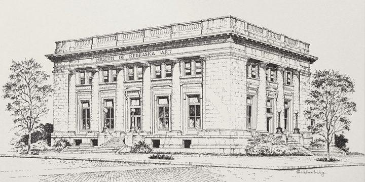 William Schlaebitz, Museum of Nebraska Art (West face), ink, 1989