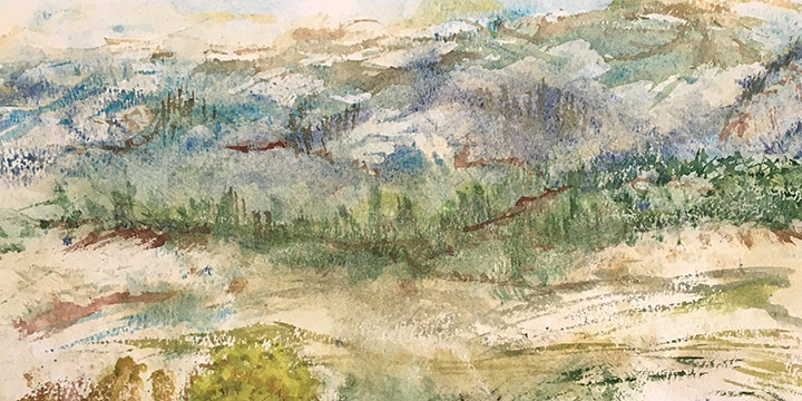 Phyllis Campbell Aspen, Hill Country, watercolor, 1984