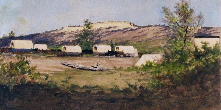 Jules Tavernier, Red Cloud Camp, watercolor on paper, 1974