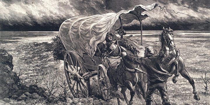 Jules Tavernier, A Prairie Wind-storm, wood engraving, published in Harper's Weekly, May 30, 1874
