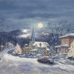 Grant Reynard, Moonlight Village, watercolor, 1940s-1950s