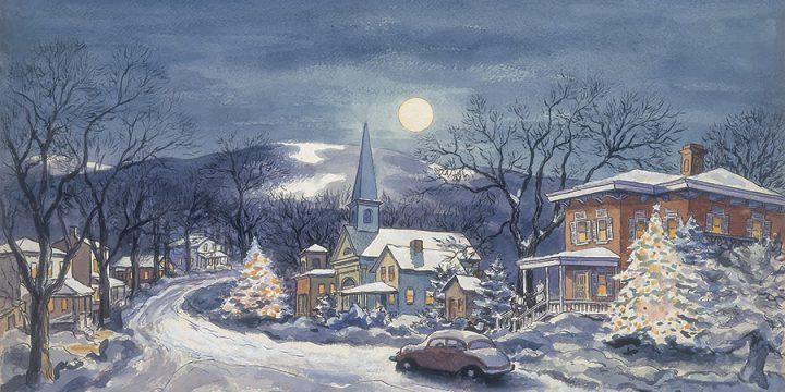Grant Reynard, Moonlight Village, oil on panel, 1940s-1950s