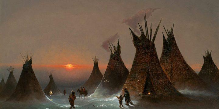 Jules Tavernier, Untitled (Indian encampment in winter), oil on canvas on board, n.d.