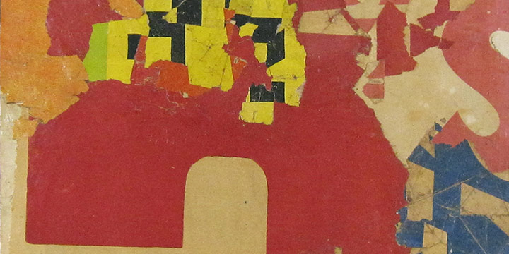 Tom Bartek, Untitled (red, yellow), collage: acrylic, paper, 1963