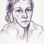 Myra Biggerstaff, Self-Portrait, graphite on paper, c. 1950s