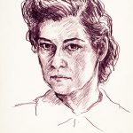 Myra Biggerstaff, Self-Portrait, pencil, n.d.