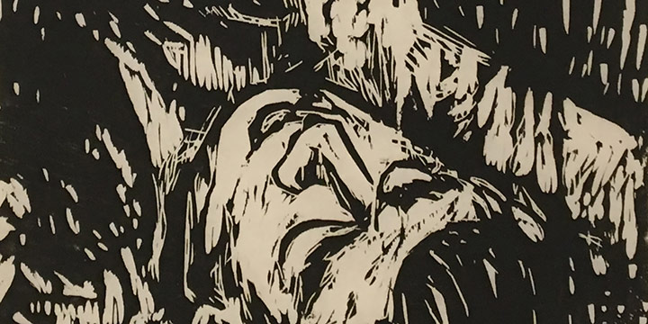 Roscoe Shields, Untitled (man in forest), woodcut (1/6), c. 1964
