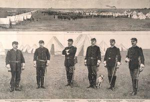 John A. Finch, The Great Military Encampment at Camp Brooke, Kearney, Nebraska, wood engraving, 1888.