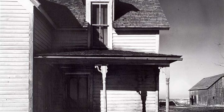 Wright Morris, Abandoned Farmhouse with Drifted Snow on Porch, Nebraska, 1941, photograph, 1975