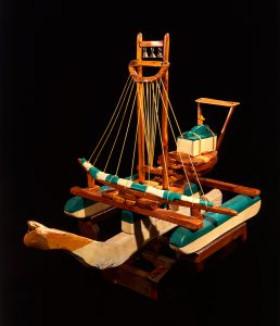 Patrick Rowan, Spirit Boat #6, wood, cloth, string, brass bells and paint, 1978