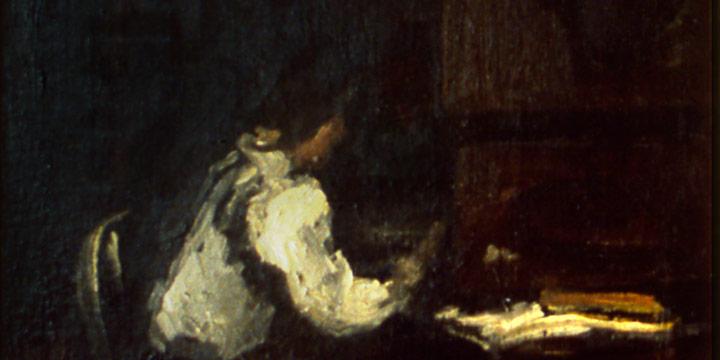 Robert Henri, Girl at Bookcase, oil on linen, n.d.