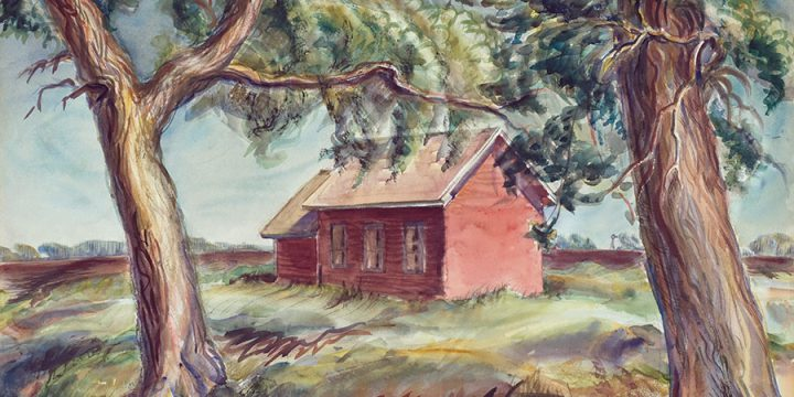Dwight Kirsch, Big School House (Holt County, Nebraska), watercolor, 1937