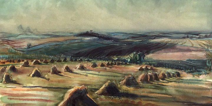 Dwight Kirsch, Untitled (rows of haystacks), watercolor, 1943