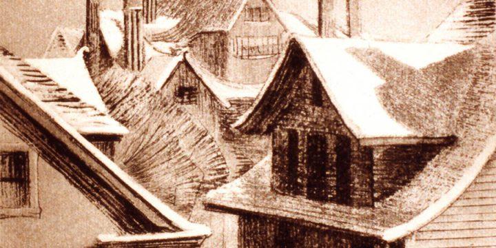 Dwight Kirsch, Roofs in Winter, intaglio (16/30), 1936