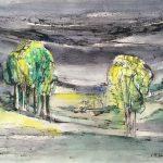 Freda Spaulding, Spring Landscape, watercolor, ink, n.d.