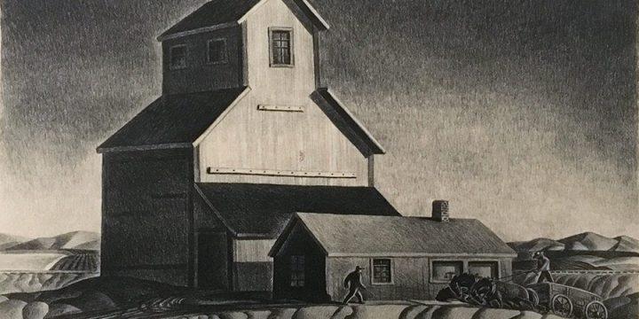 Dale Nichols, Grain Elevator, lithograph, c. 1945