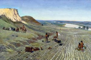 John Falter, Left Behind, Mountains Ahead, oil on canvas, 1980