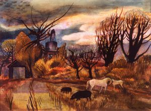 Afterglow Nebraska, Millard Sheets, watercolor, 1936