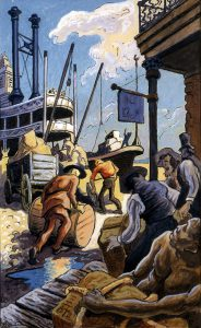 Thomas Hart Benton, River Front, gouache, ink, 1945