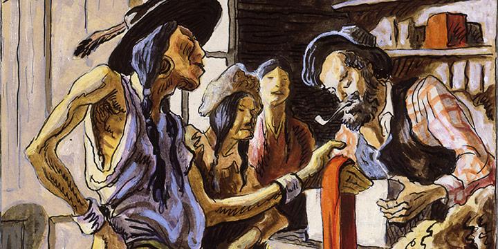 Thomas Hart Benton, Bartering with Traders, watercolor, 1945