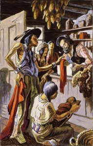 Thomas Hart Benton, Bartering with Traders, gouache, ink, 1945