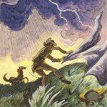 Thomas Hart Benton, Trapper in Windstorm, gouache, ink, 1945