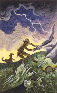 Thomas Hart Benton, Trapper in Windstorm, watercolor, 1945