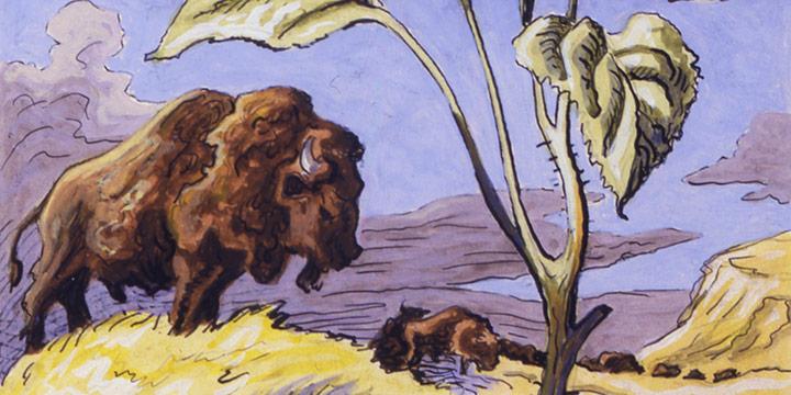 Thomas Hart Benton, Sunflower and Buffalo, watercolor, 1945