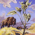 Thomas Hart Benton, Sunflower and Buffalo, gouache, ink, 1945