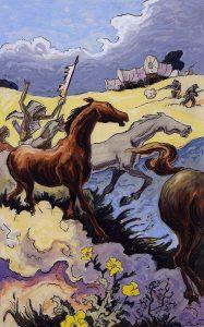 Thomas Hart Benton, Indian Horse Thieves, gouache, ink, 1945