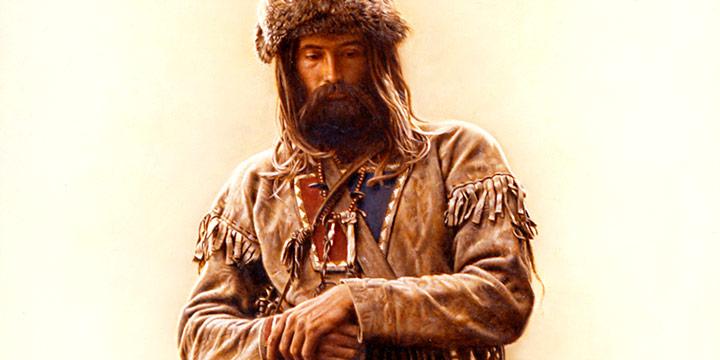 James Bama, Mountain Man with Rifle, oil on board, 1982