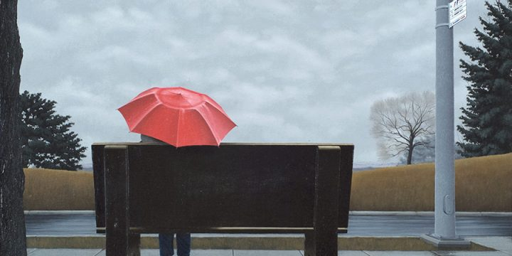 Peter Walkley, The Red Umbrella, Acrylic, 1987