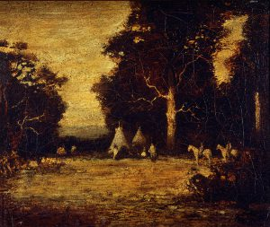 Ralph Blakelock, Indian Encampment, oil on linen,