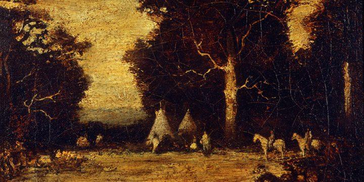 Ralph Blakelock, Indian Encampment, oil on linen, n.d.