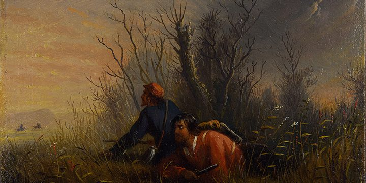 A Narrow Escape, Alfred Jacob Miller, oil on board, n.d.