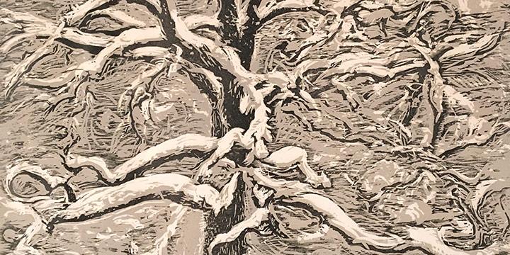 """Dwight Kirsch, Oak Tree in Winter, woodcut, 1961, 13¼ × 16 × ½"""" framed"""