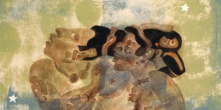 Dale Nichols, Mayan The Temptor, metagraph on fabric, 1972