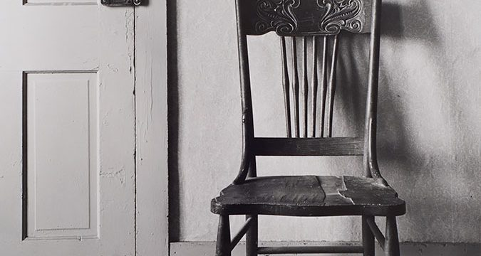 Wright Morris, Chair by Door, The Home Place, Near Norfolk, Nebraska 1947, silver print, 1975
