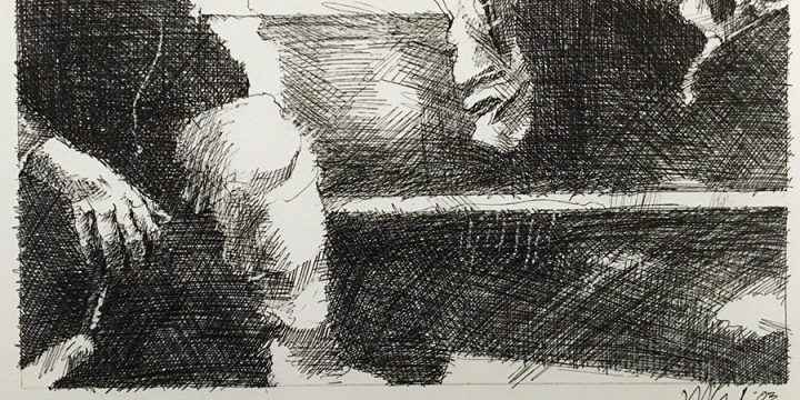 Dan Howard, Soliloquium: III, preliminary study (knee), on paper, 2003