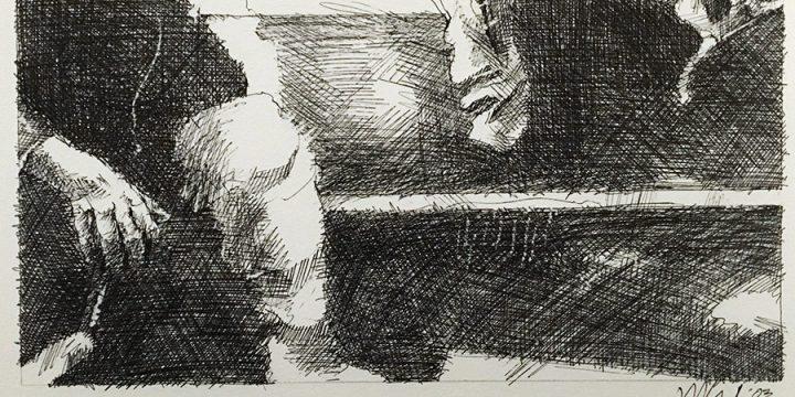 Dan Howard, Soliloquium: III, preliminary study (knee), on paper, 2003