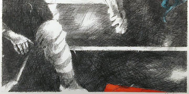 Dan Howard, Soliloquium: III, color study (knee), ink, watercolor on paper, 2003