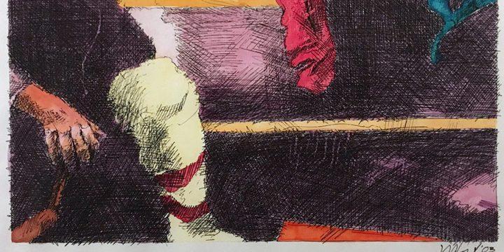 Dan Howard, Soliloquium: III, preparatory study (knee), ink, watercolor on paper, 2003