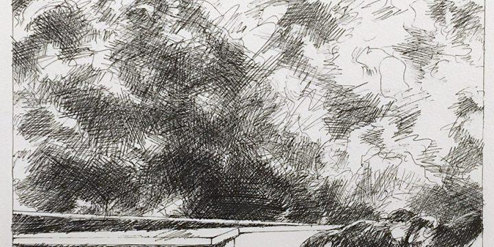 Dan Howard, Soliloquium: IV, preliminary study (horse), ink on paper, 2003