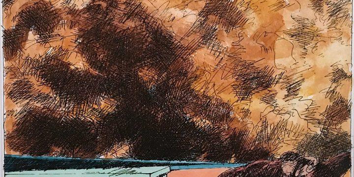 Dan Howard, Soliloquium: IV, color study (horse), ink, watercolor on paper, 2003