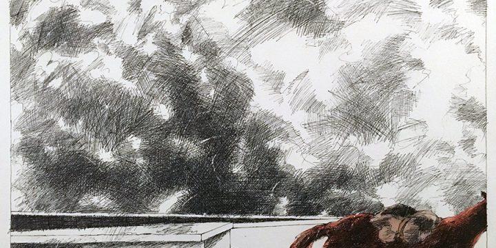 Dan Howard, Soliloquium: IV, preparatory study (horse), ink, watercolor on paper, 2003