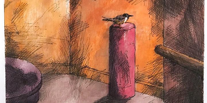 Dan Howard, Soliloquium: V, color study (bird), ink, watercolor on paper, 2003