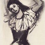 Freda Spaulding, Dancer, ink wash on paper, n.d.