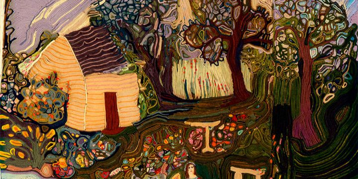 Jean Louise Berg Thiessen, Me in the Garden, on-edge felt mosaic, c. 1900s-1930s