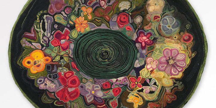 Jean Louise Berg Thiessen, Untitled (round floral), on-edge felt mosaic c. 1900s – 1930s